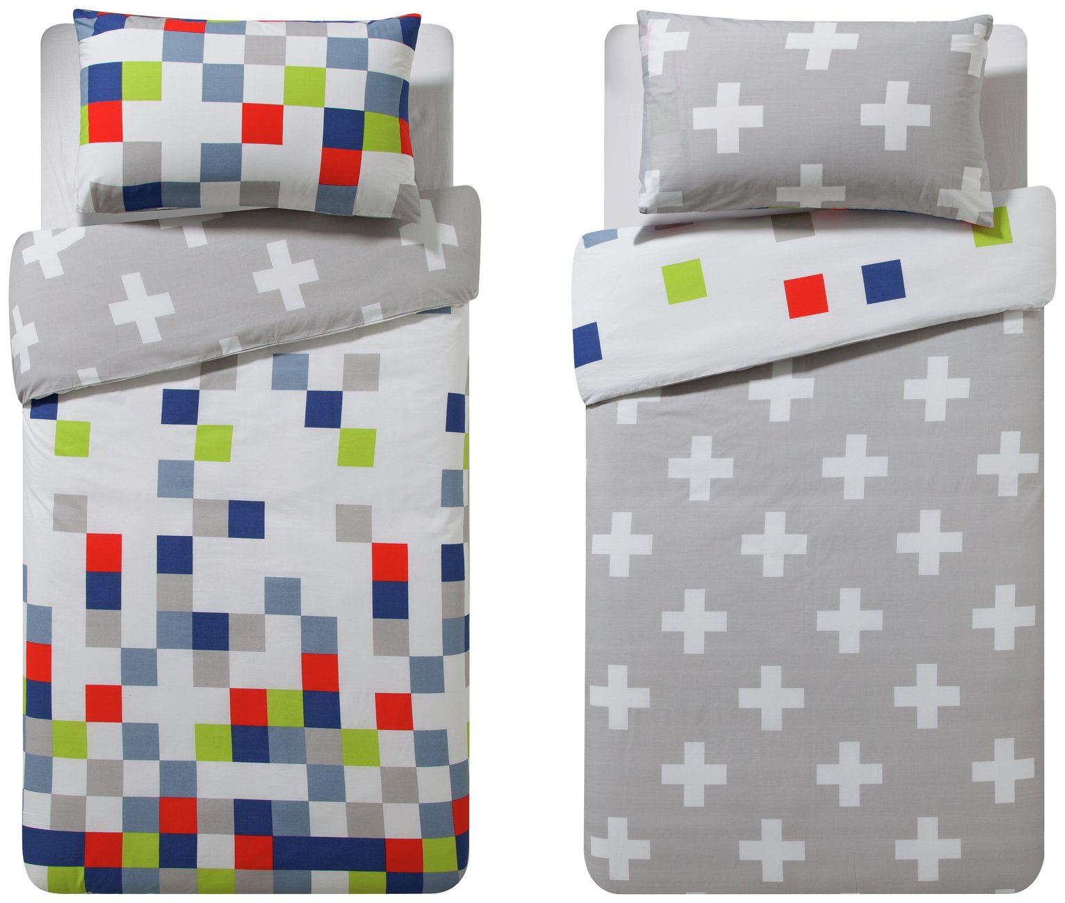 Argos Home Blocks Twin Pack Bedding Set - Toddler