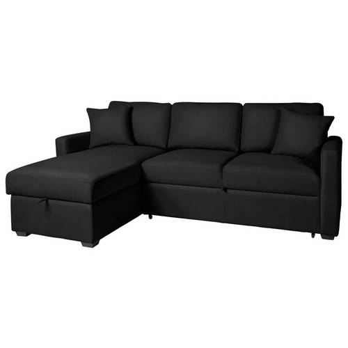 Buy Argos Home Reagan Left Corner Faux Leather Sofa Bed - Black ...