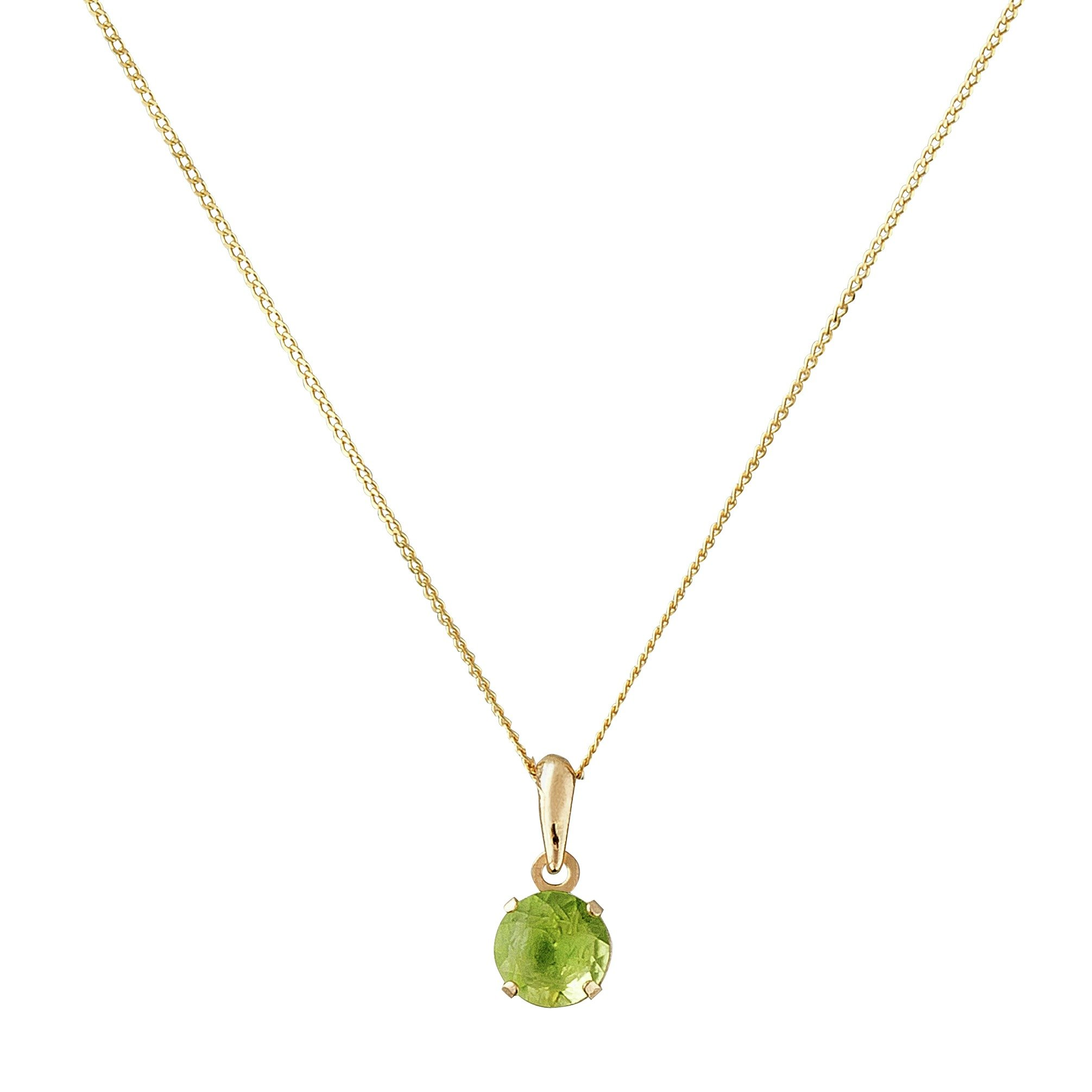 Image of Revere 9ct Gold 5mm Peridot Pendant - August
