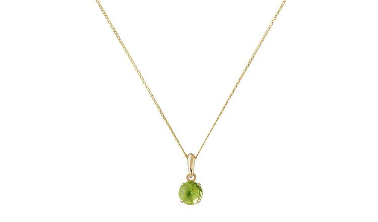 Revere 9ct Gold Peridot Pendant Necklace - August