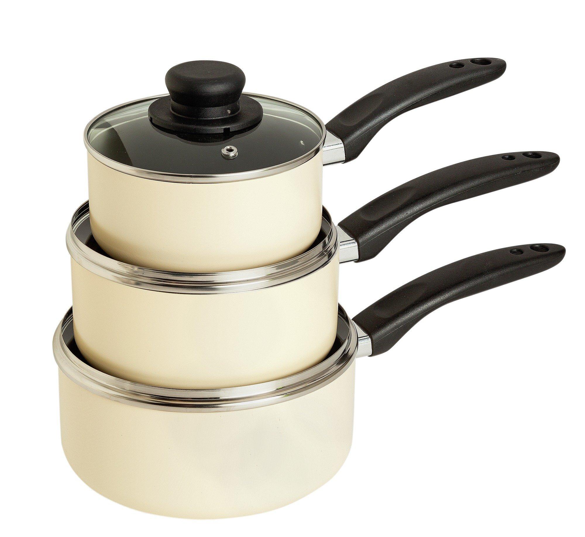 Argos Home Aluminium Non-Stick 3 Piece Pan Set - Cream
