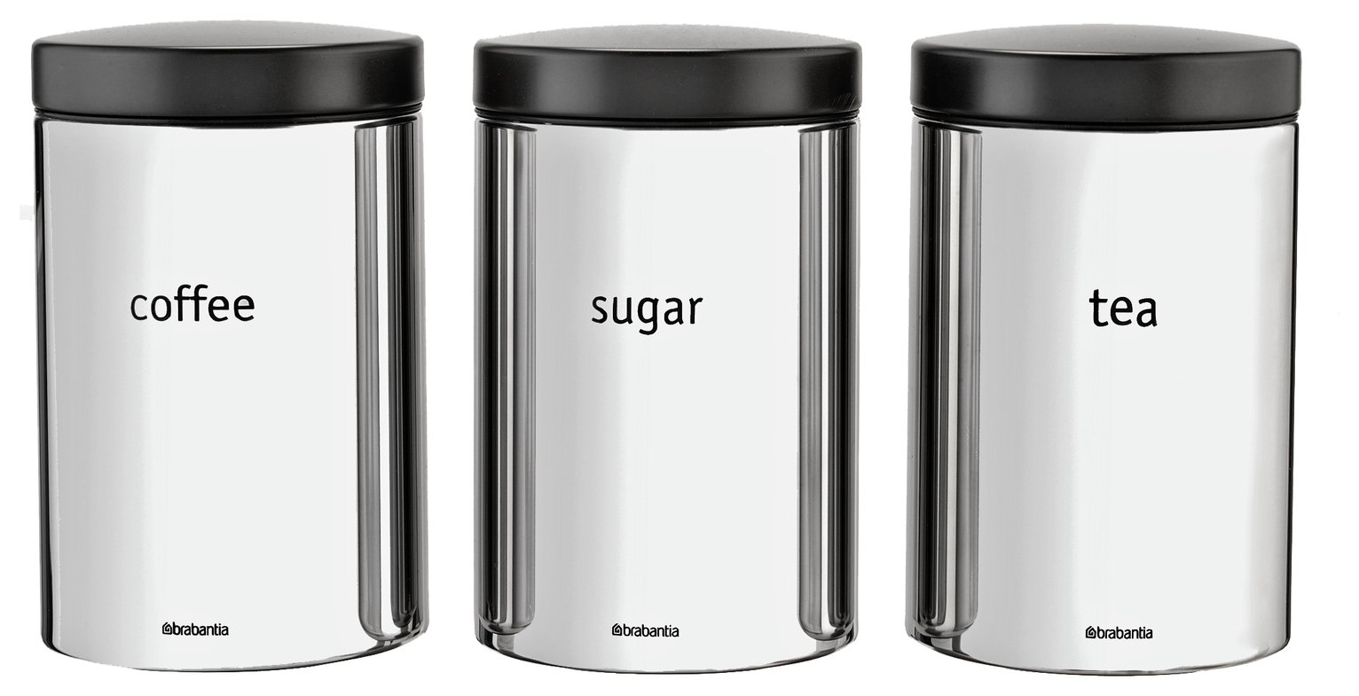 Image of Brabantia Brilliant Steel Set of 3 Storage Jars