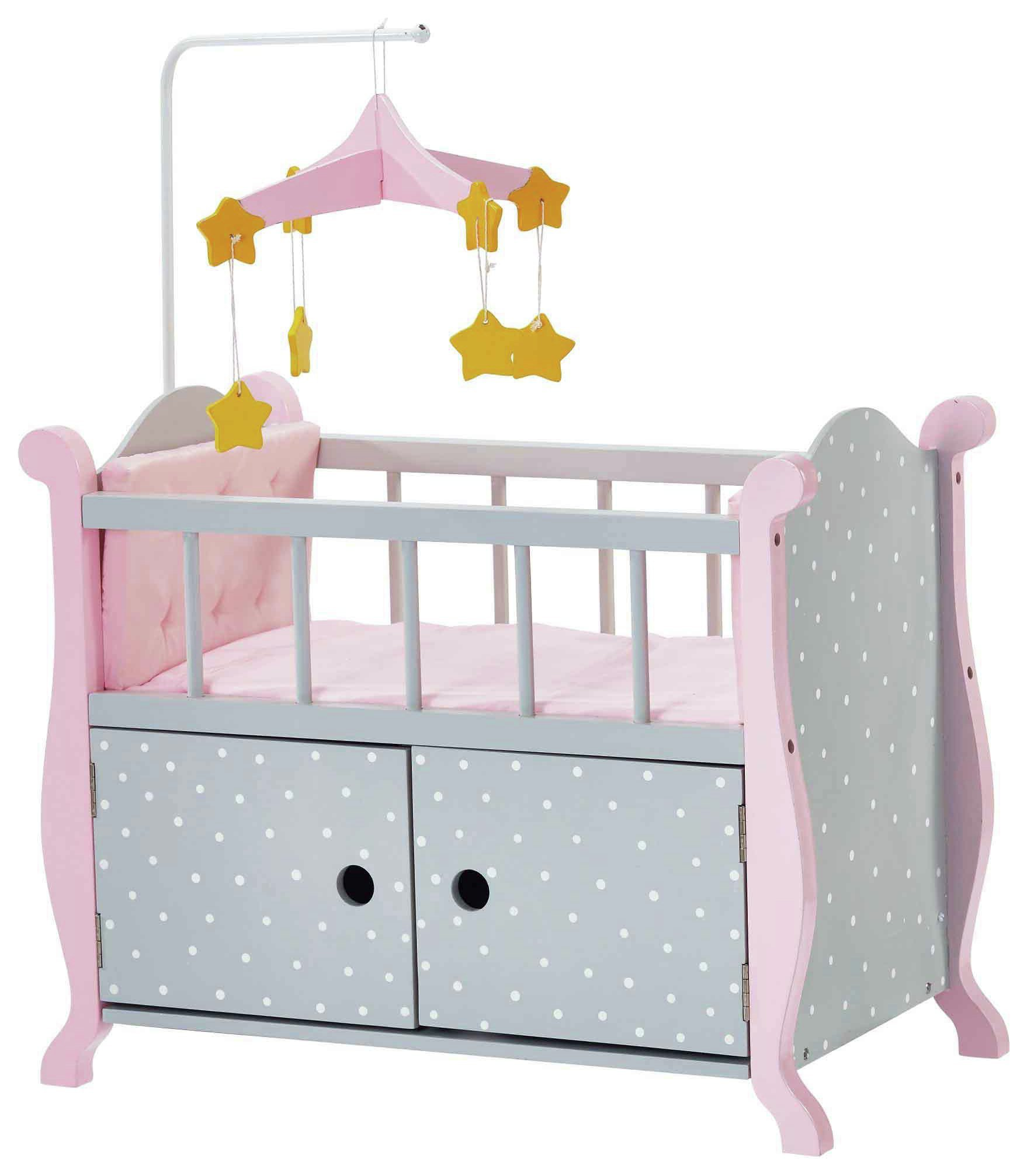 Image of Olivia's Little World Polka Dots Doll Furniture Nursery Bed.