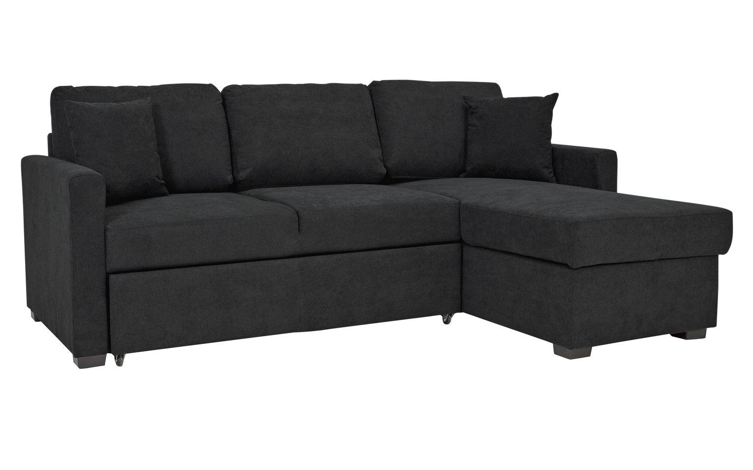 Argos Home Reagan Right Corner Fabric Sofa Bed - Charcoal