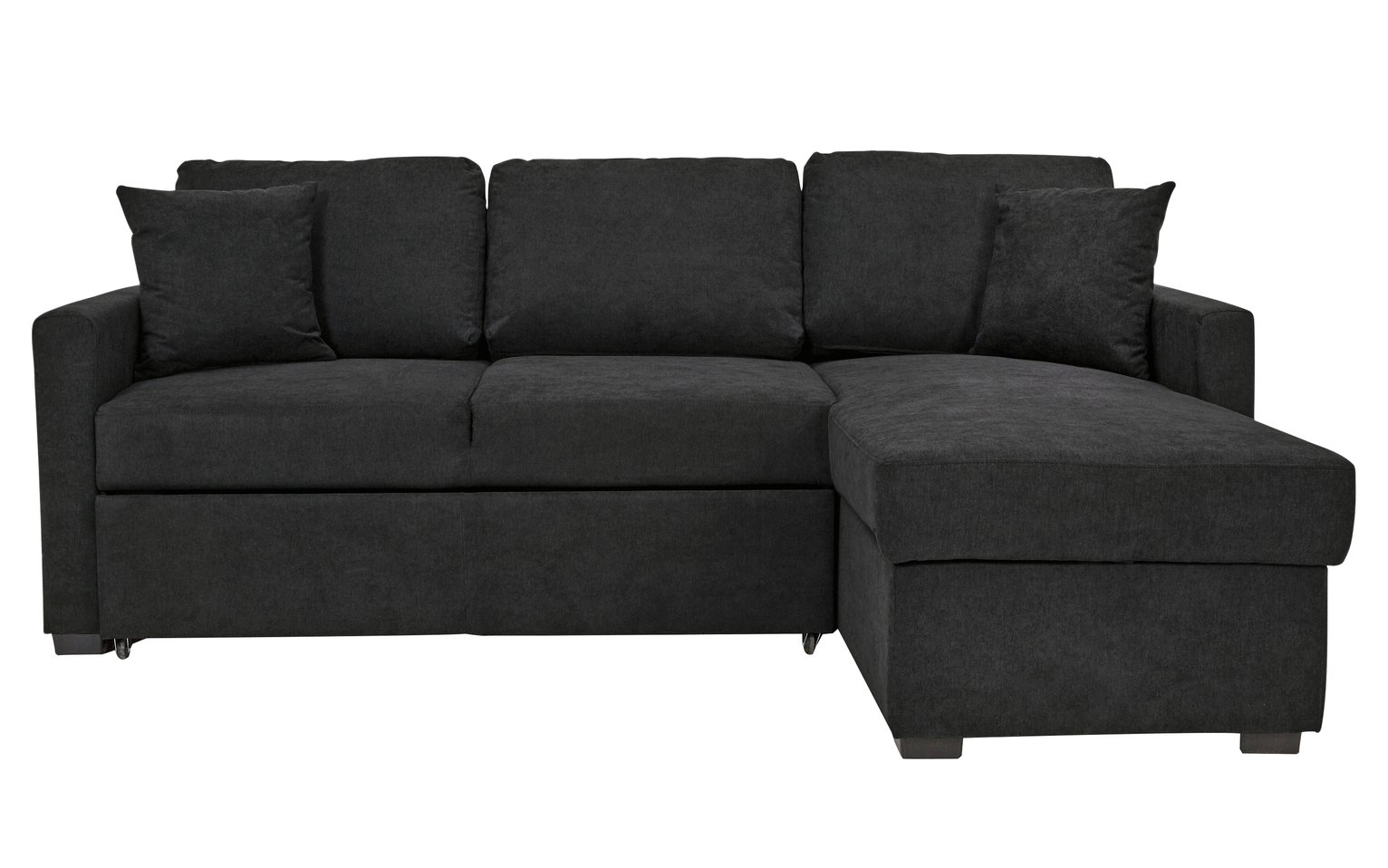 Buy HOME Reagan Fabric Right Corner Chaise Sofa Bed Charcoal at
