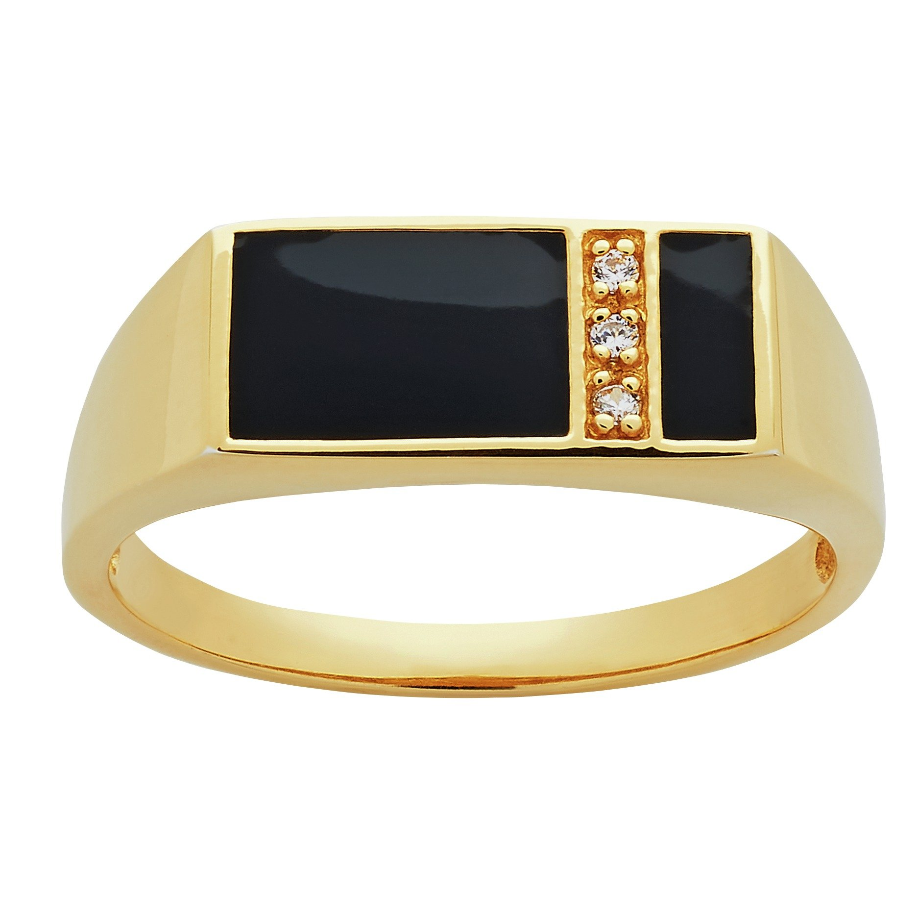 Image of Revere Men's 18ct Gold Plated Silver CZ Signet Ring