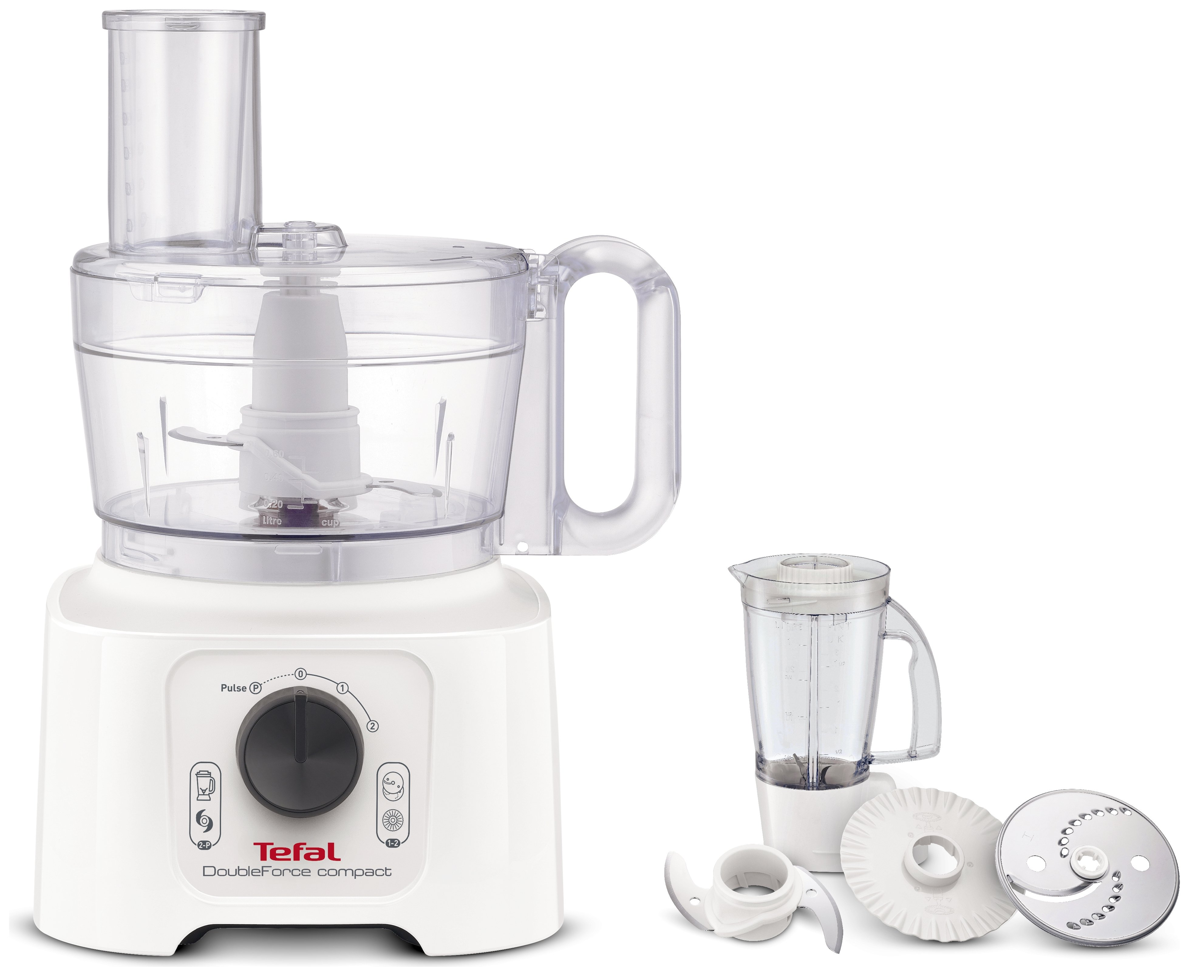 Tefal DO542140 Double Force Compact Food Processor - White