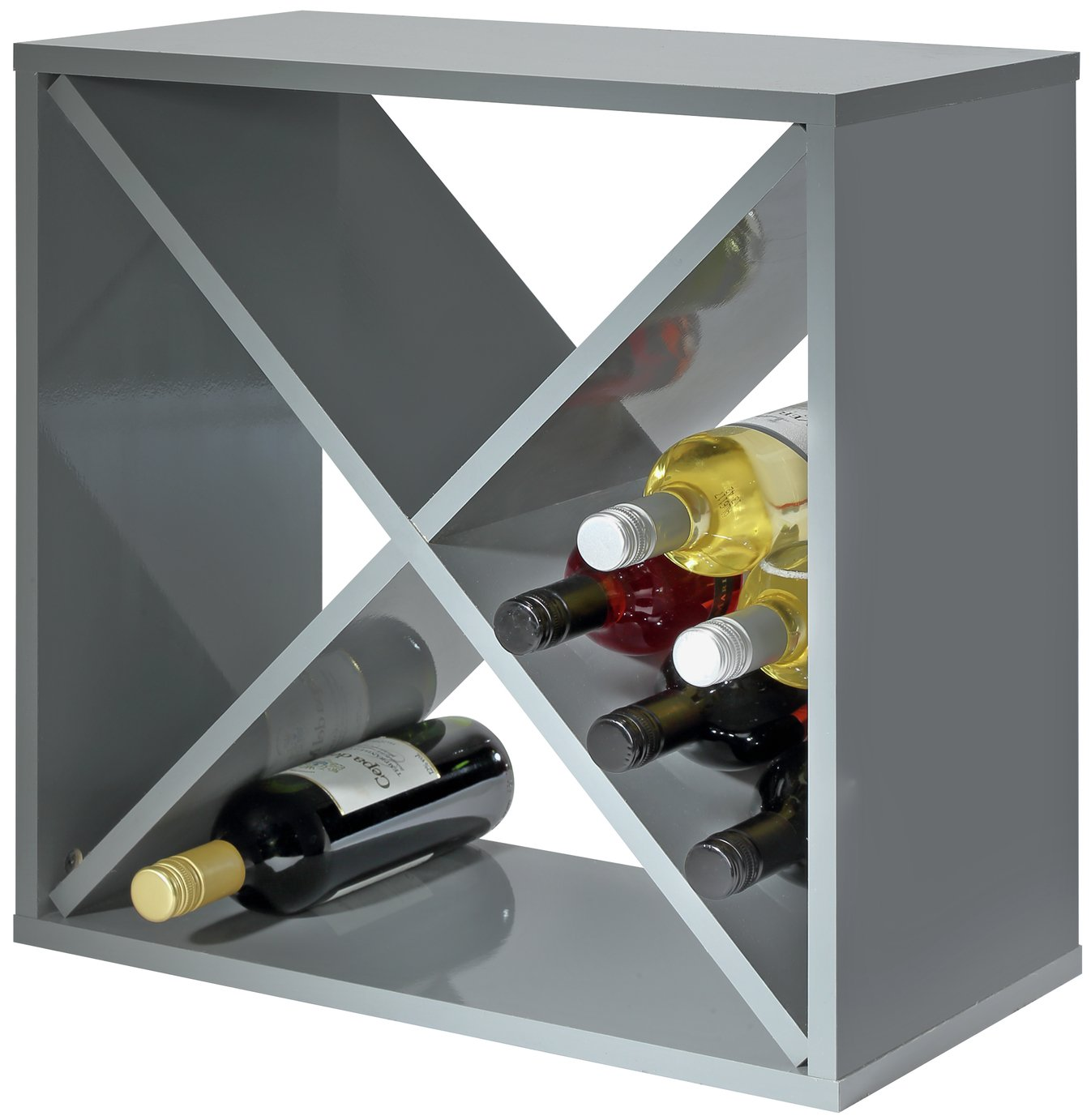 Hygena 24 Bottle Wine Rack Cube - Grey