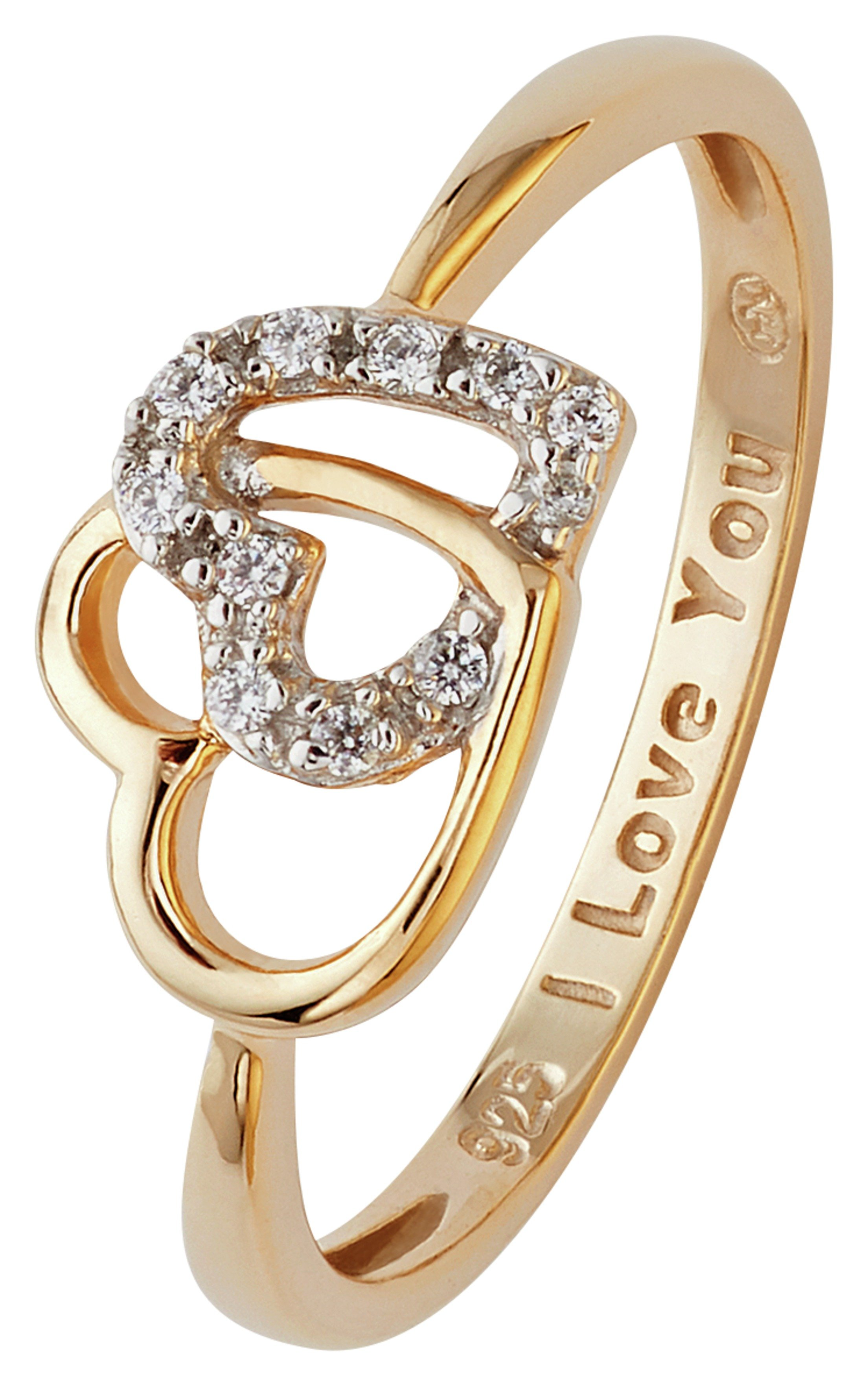 Buy Revere 9ct Gold Plated Silver Joined Hearts CZ Message Ring at