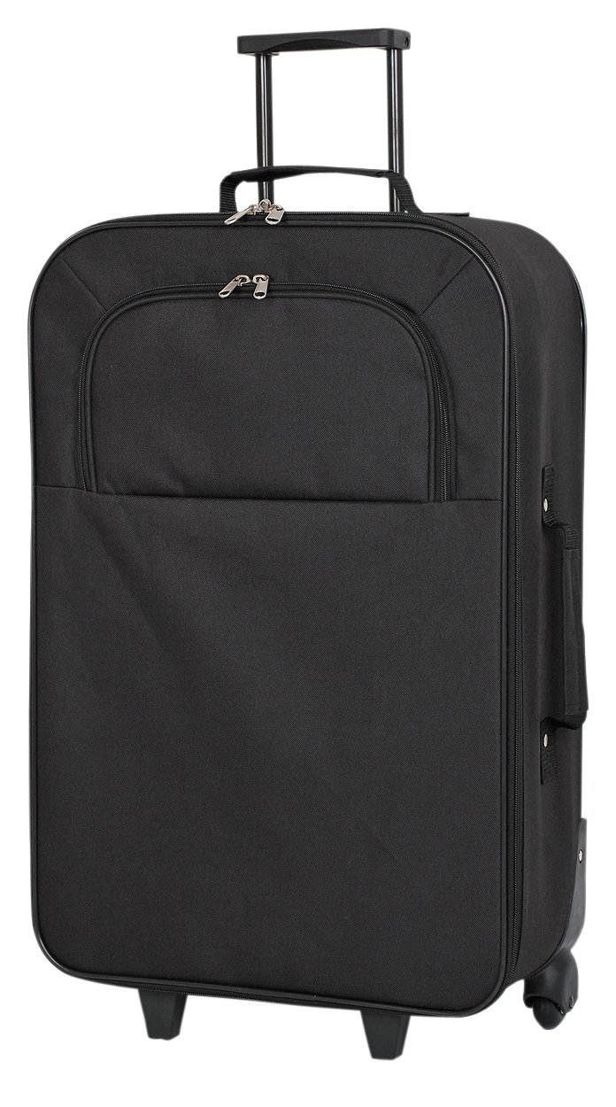 Image of Simple Value Soft 2 Wheeled Medium Suitcase - Black