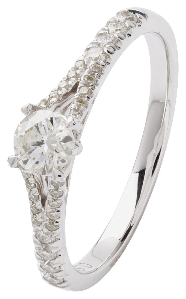 Revere 9ct White Gold 0.50ct tw Diamond Shoulder Detail Ring