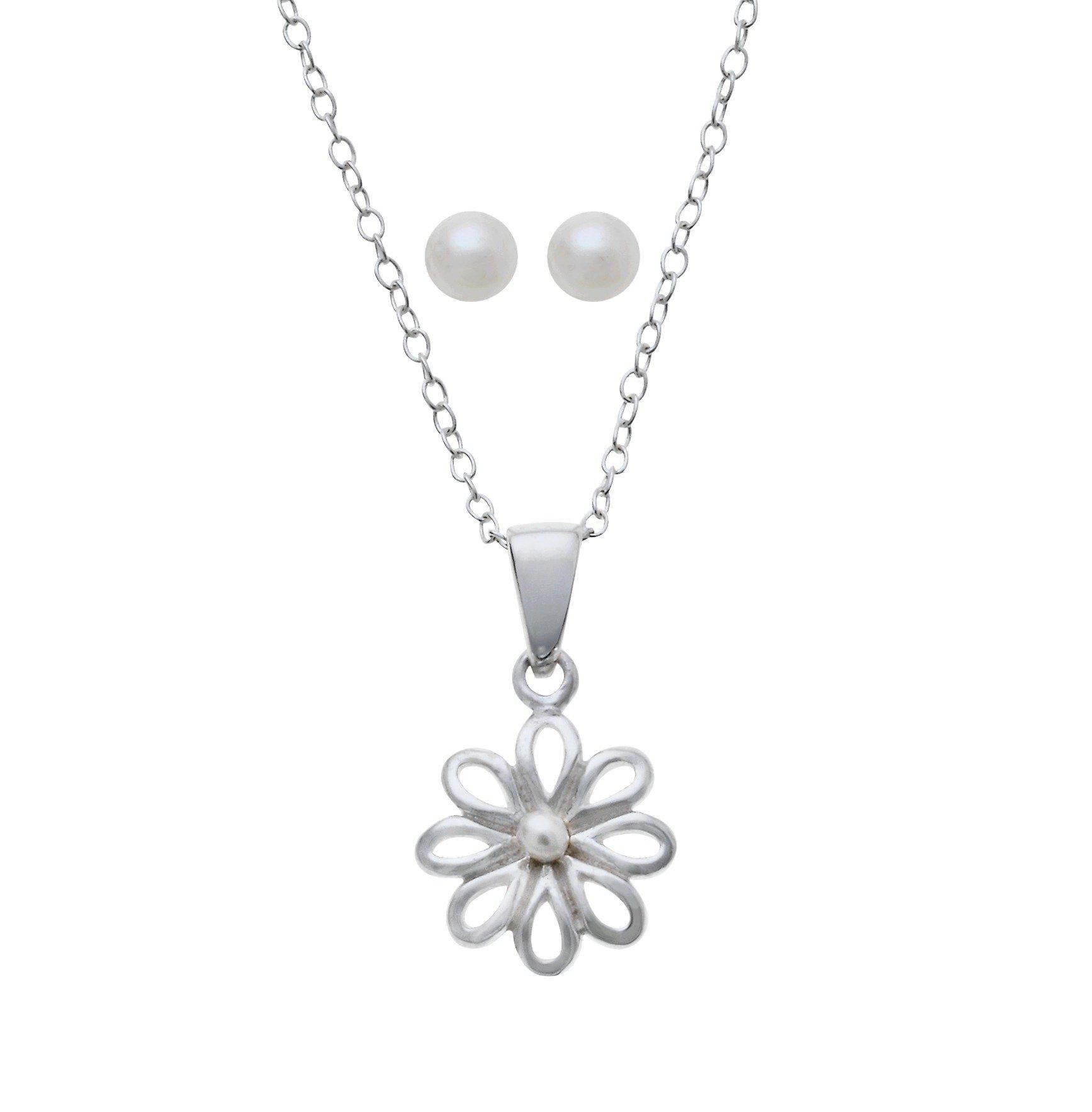 Image of Revere Kid's Pearl Flower Pendant and Earrings Set