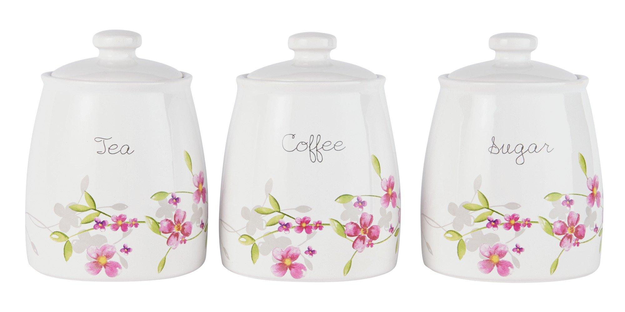 Argos Home Maya Set of 3 Floral Ceramic Storage Jars