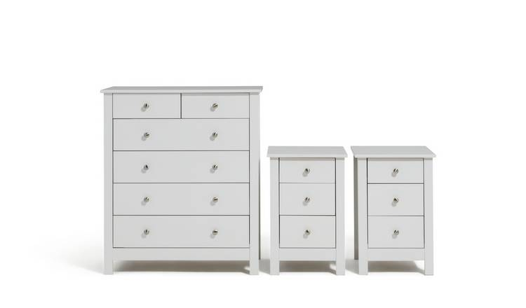 Habitat Osaka 2 Bedsides & 4+2 Drawer Chest Set - White