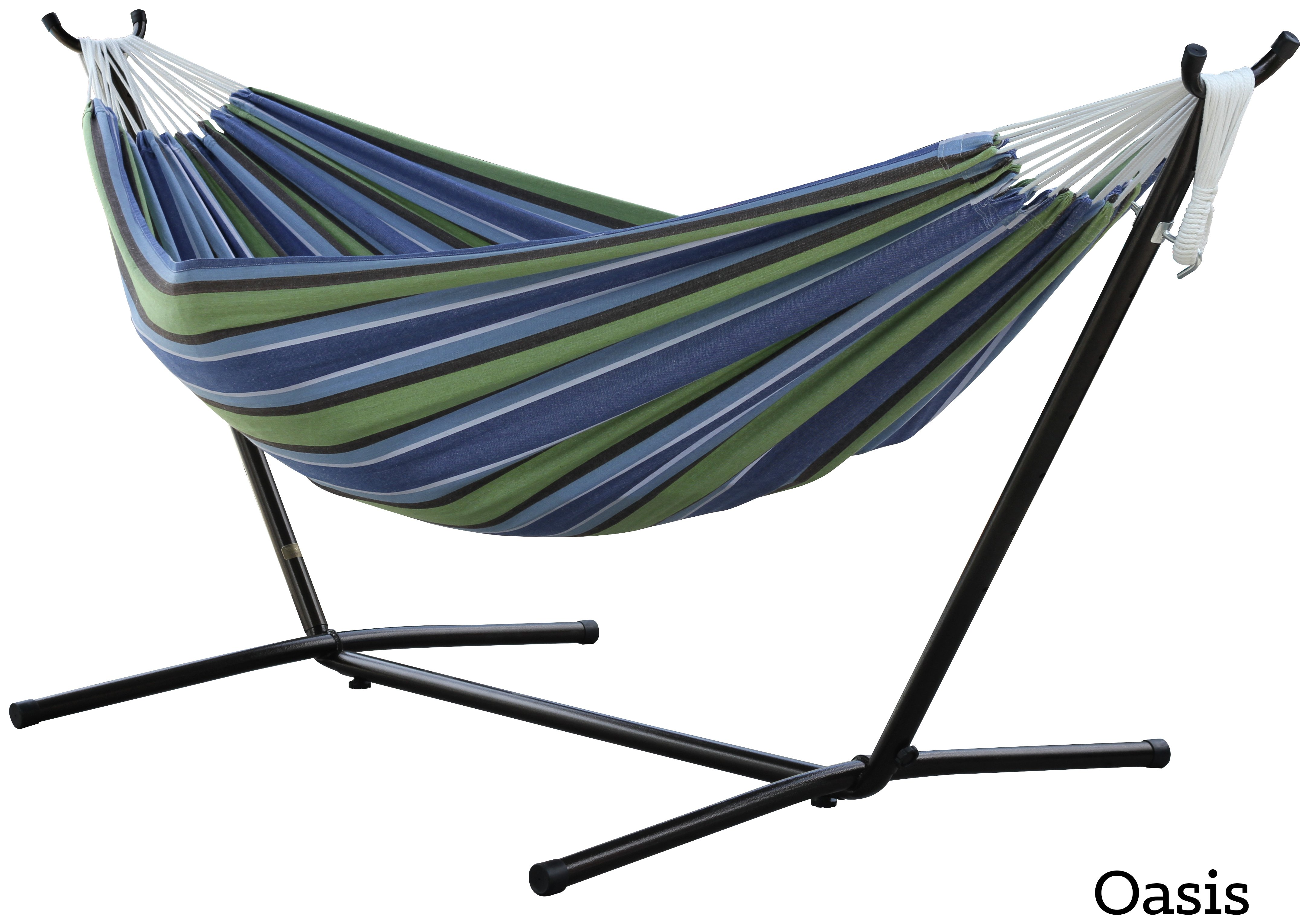 Vivere Double Cotton Hammock with Stand - Oasis