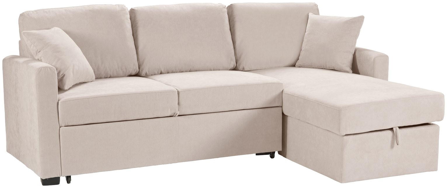 Argos Home Reagan Right Corner Fabric Sofa Bed - Natural