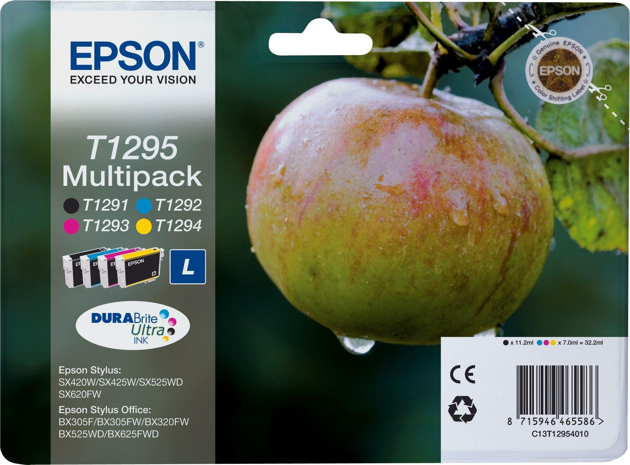 Image of Epson Apple T1295 Black and Colour Ink Cartridge Pack