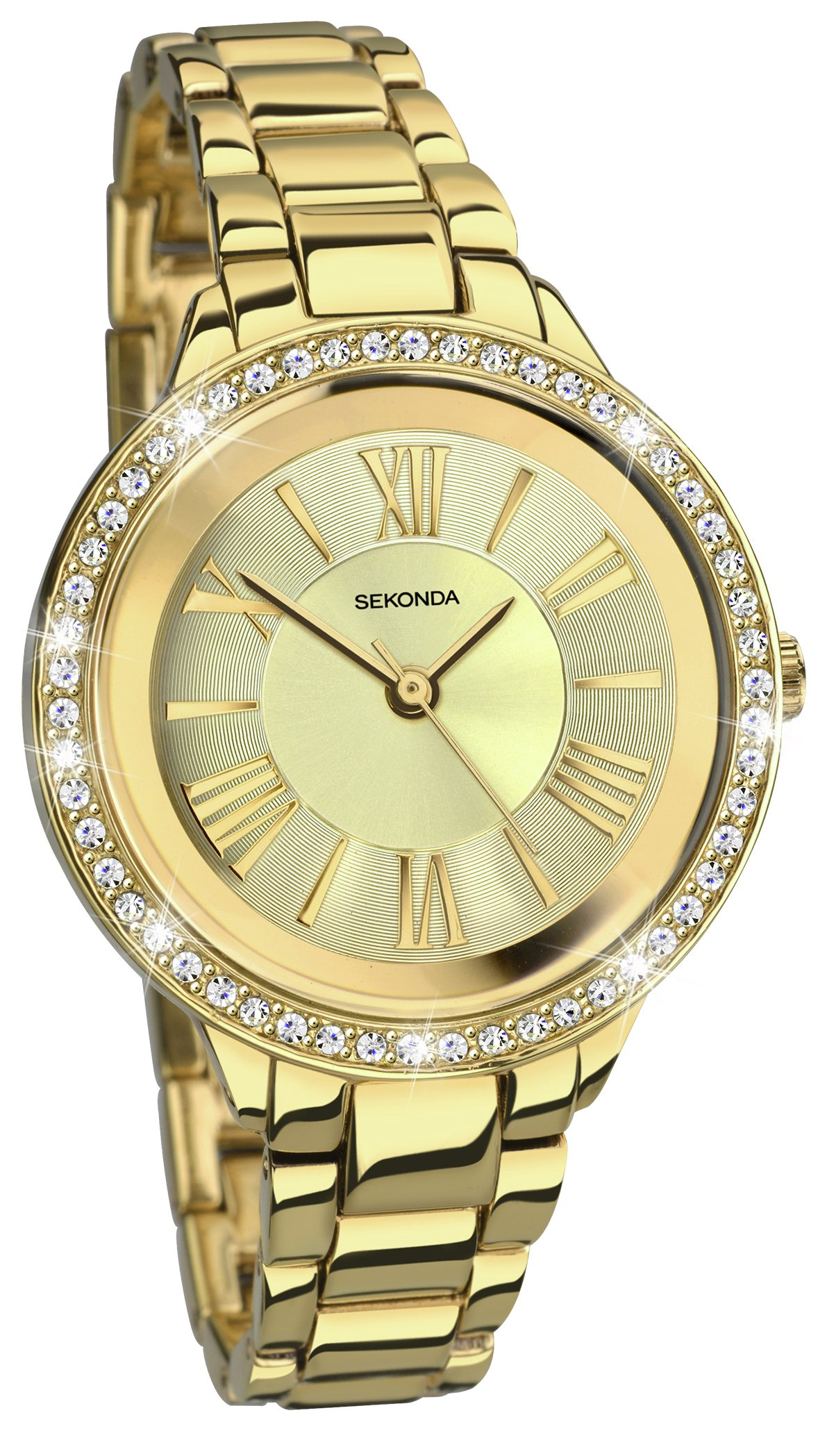 Sekonda Ladies' Editions Stone Set Gold Plated Watch
