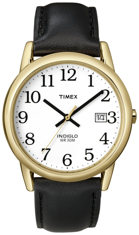 Timex Men's Black Leather Strap Easy Reader Watch