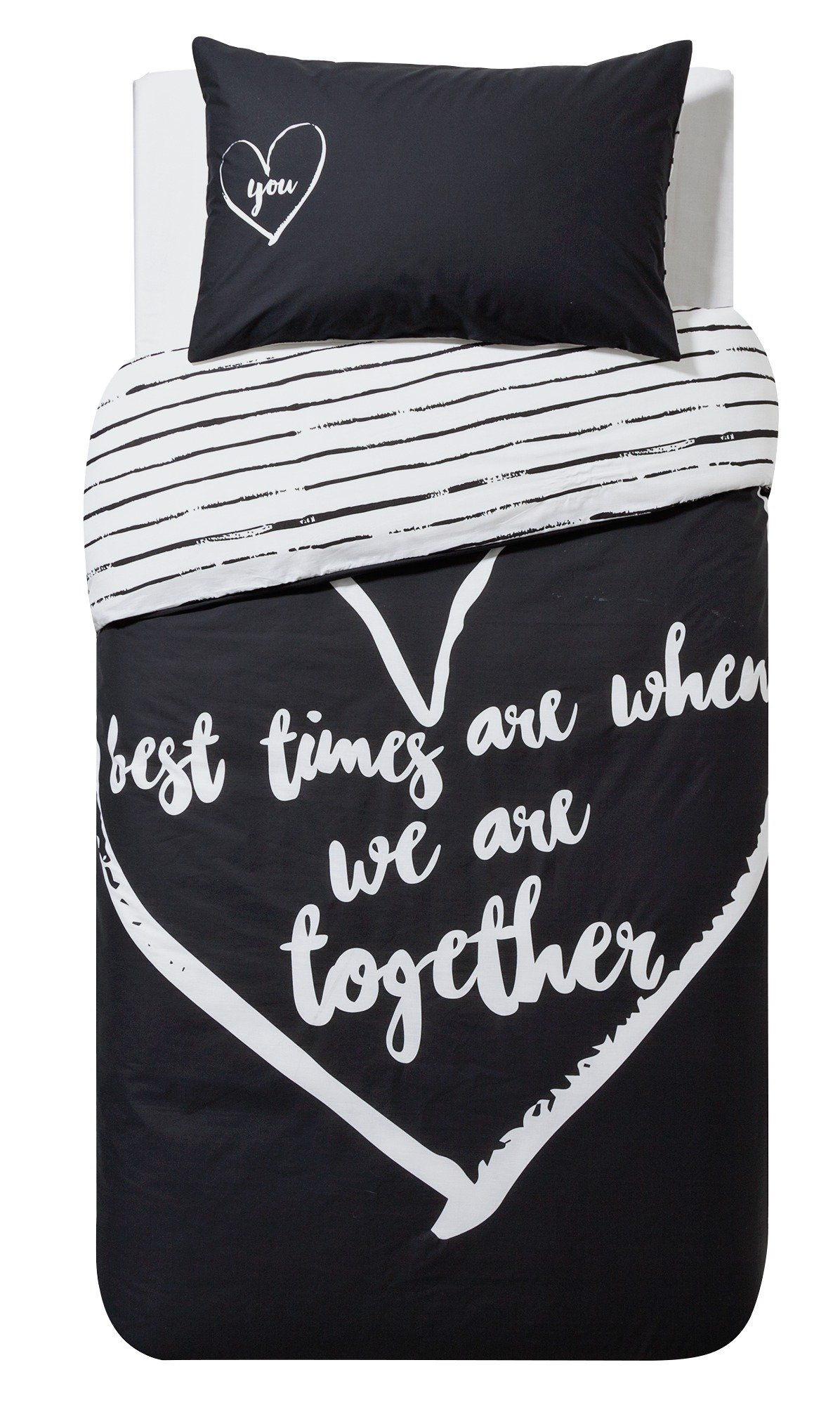 HOME Love Therapy Black Bedding Set - Single.