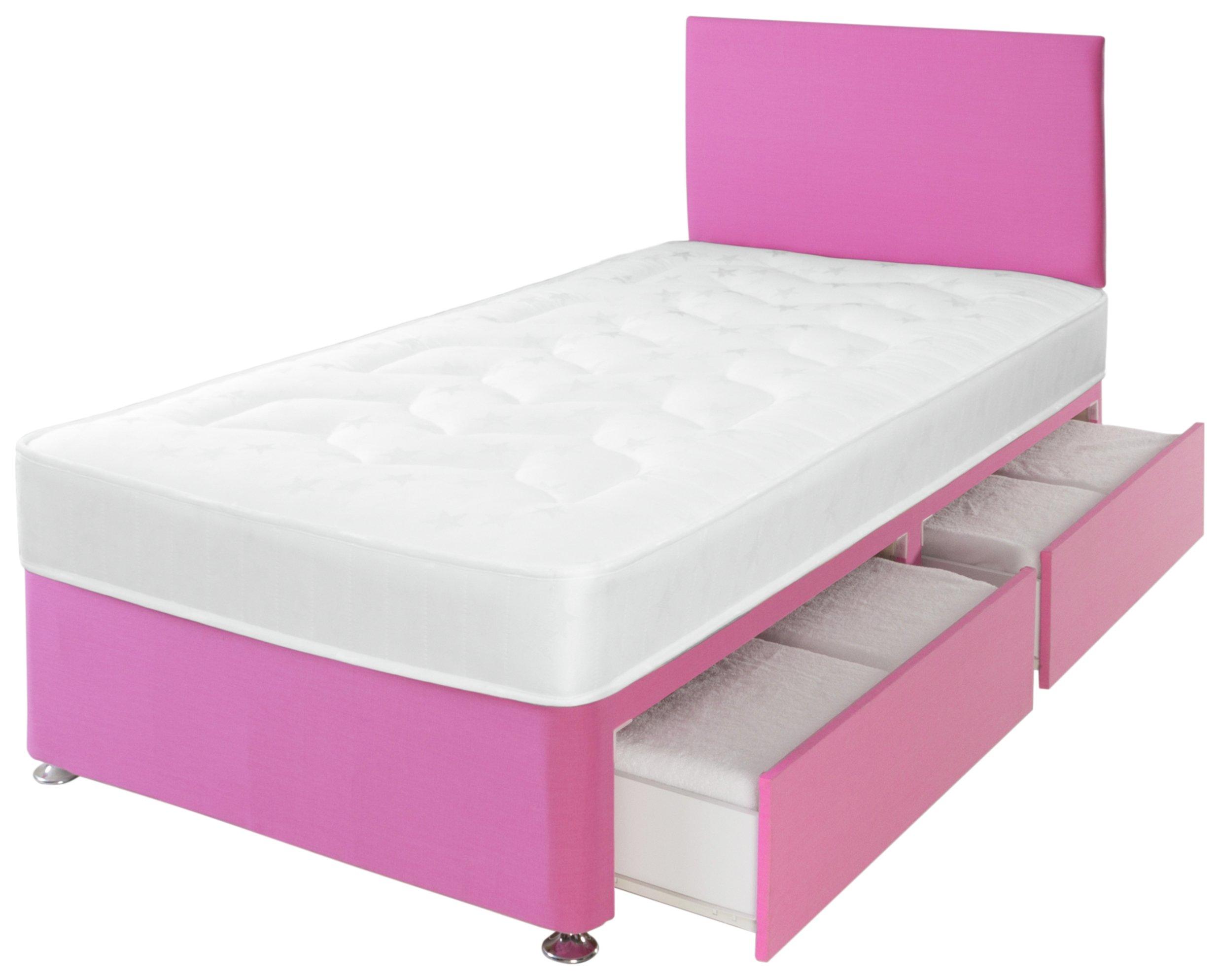 Airsprung Elliott Storage Divan with Headboard - Pink