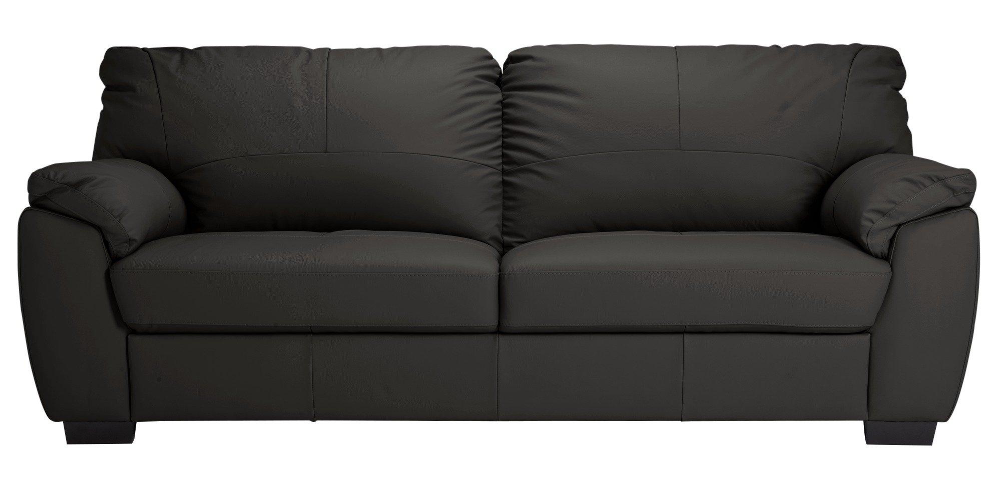 Argos Home Milano 4 Seater Leather Sofa - Black