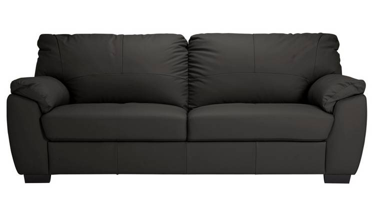 Buy Argos Home Milano 4 Seater Leather Sofa - Black | Sofas | Argos