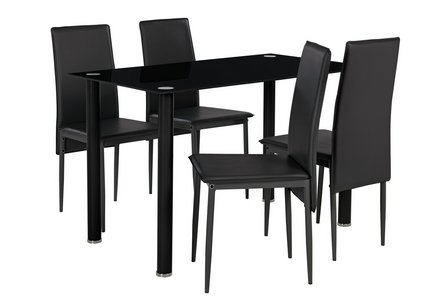 Hygena Flynn Round Leg Glass Dining Table & 4 Chairs - Black