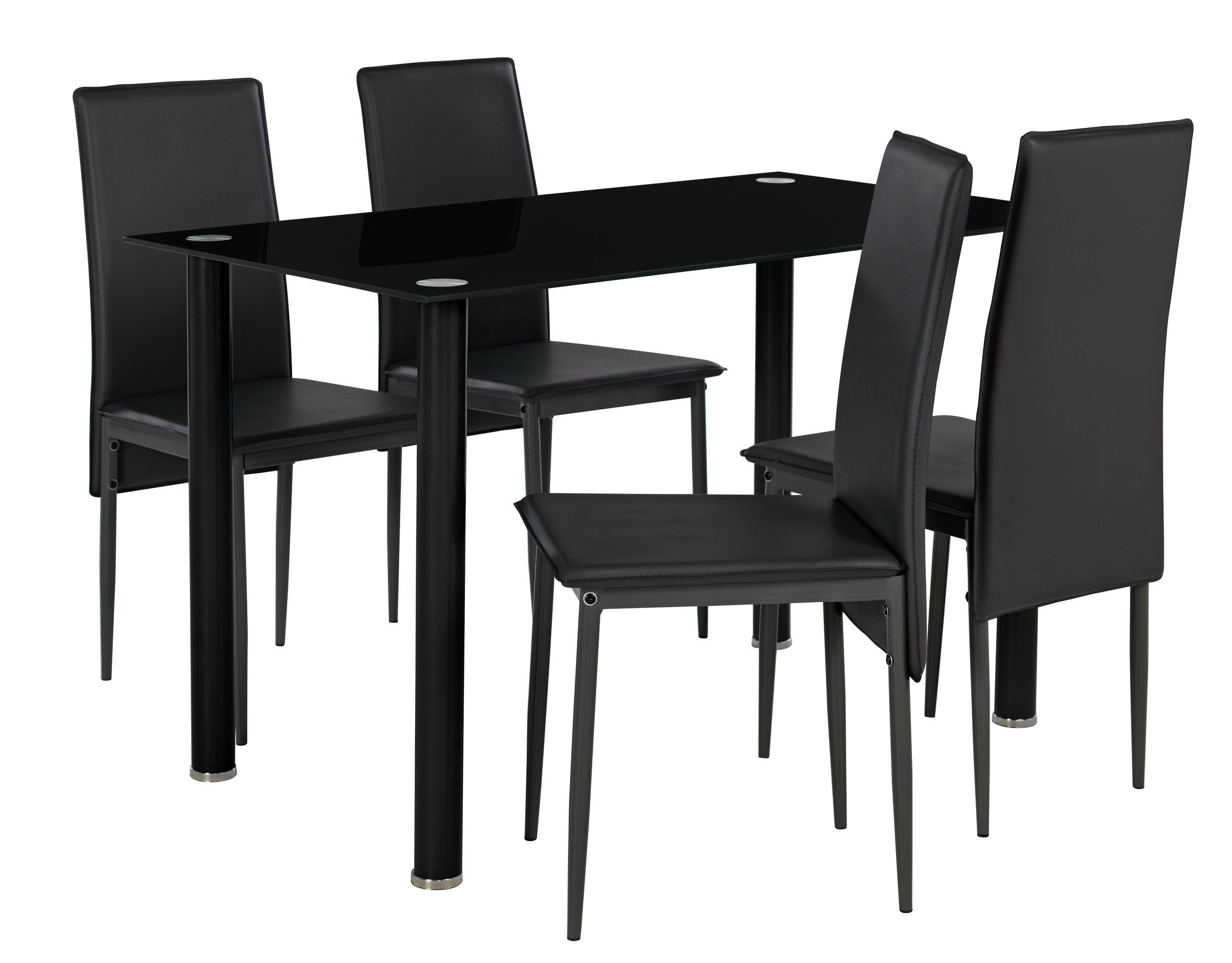 Buy Argos Home Flynn Round Leg Glass Table 4 Chairs Black