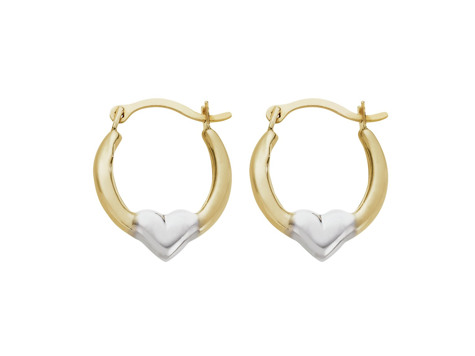 Revere 9ct Gold Rhodium Plated Heart Creole Hoop Earrings review