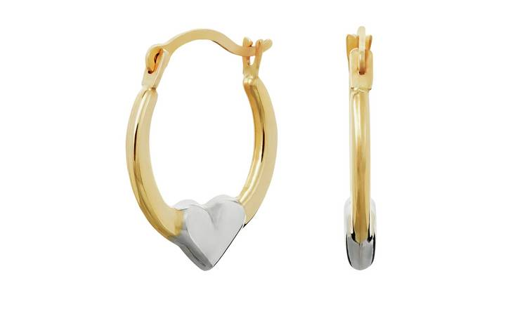 Revere 9ct Yellow Gold Heart Creole Hoop Earrings