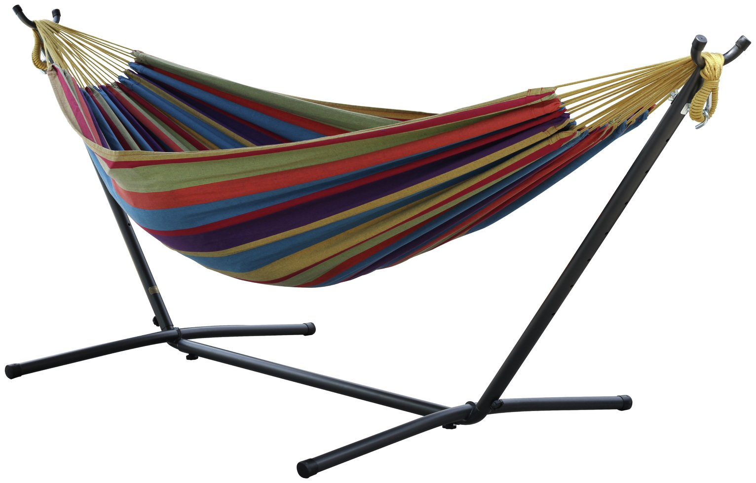 Vivere Double Cotton Hammock with Stand - Tropical