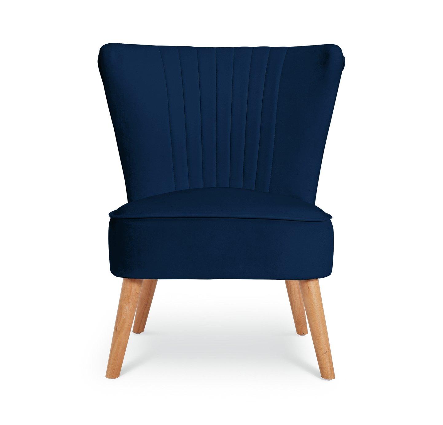 Collection Alana Velvet Shell Back Chair - Navy