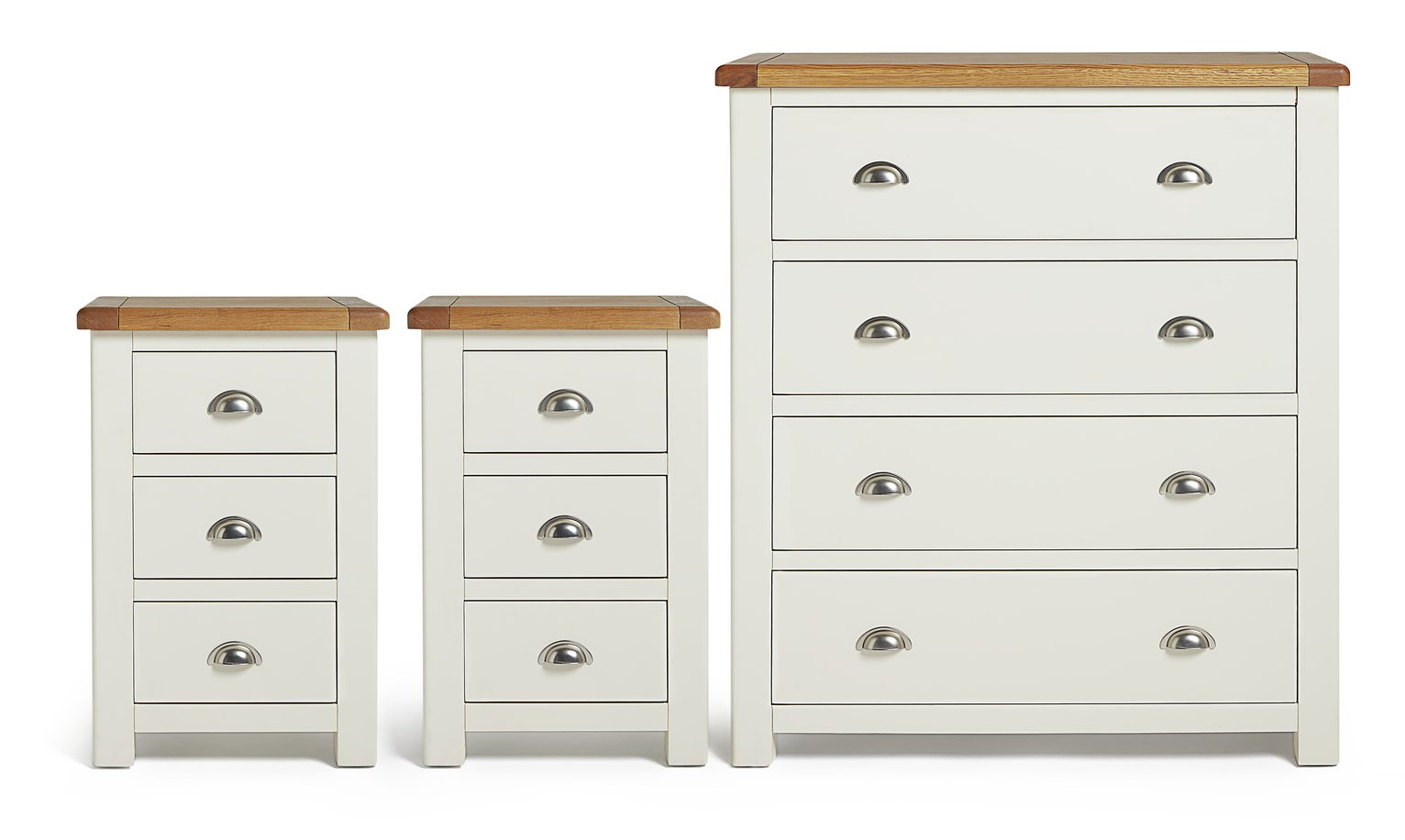 Argos Home Kent 2 Bedsides & 4 Drawer Package - Cream & Oak