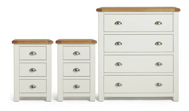 Habitat Kent 2 Bedsides & 4 Drawer Set - Cream & Oak