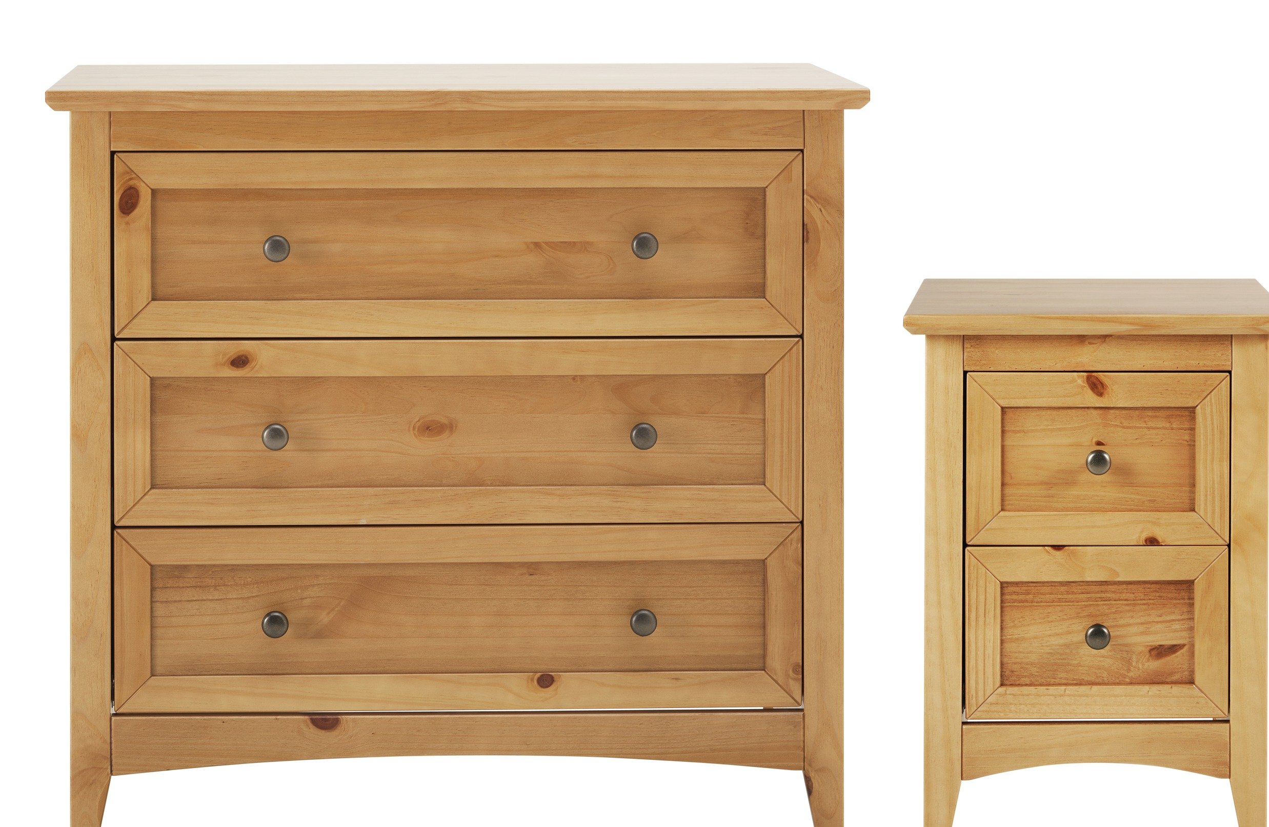 Image of Collection Camborne Bedside & 3 Drawer Package - Oak Stain