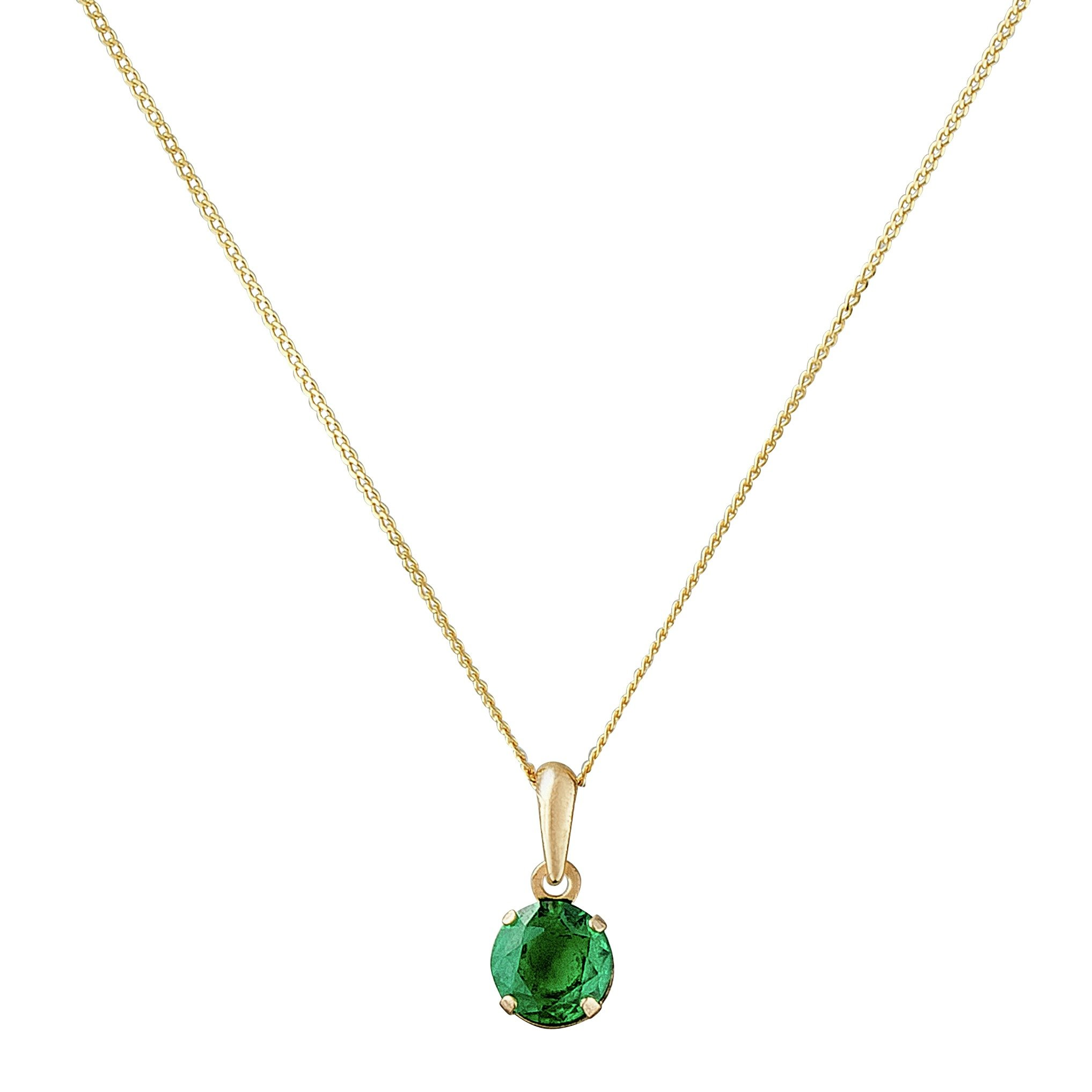 Image of Revere 9ct Gold 5mm Created Emerald Pendant - May
