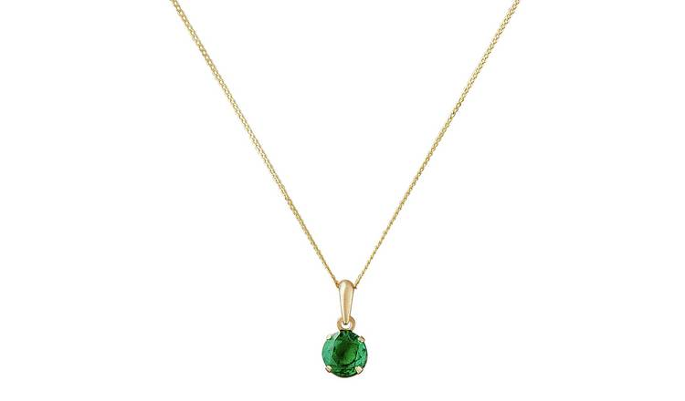 Revere 9ct Gold Created Emerald 5mm Pendant Necklace