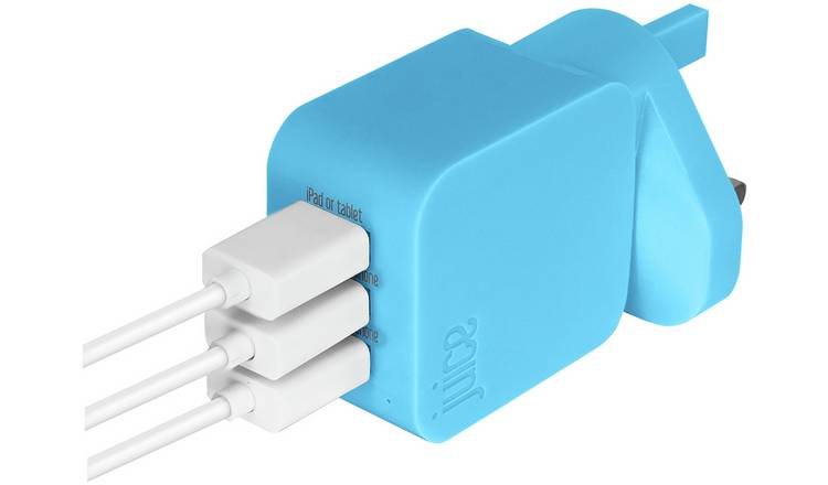 Juice USB 2.0/3.0 Triple Wall Charger - Aqua
