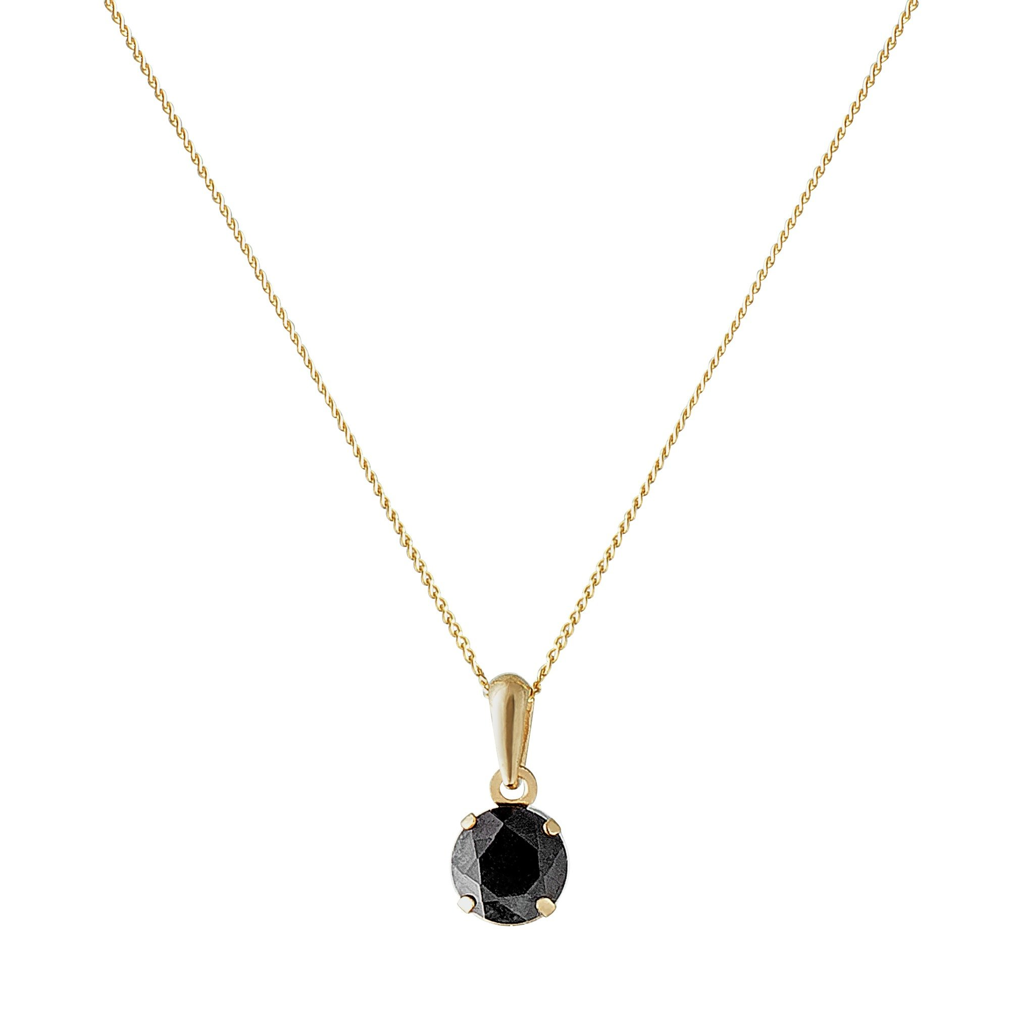 Revere 9ct Gold Sapphire 5mm Pendant 16 Inch Necklace