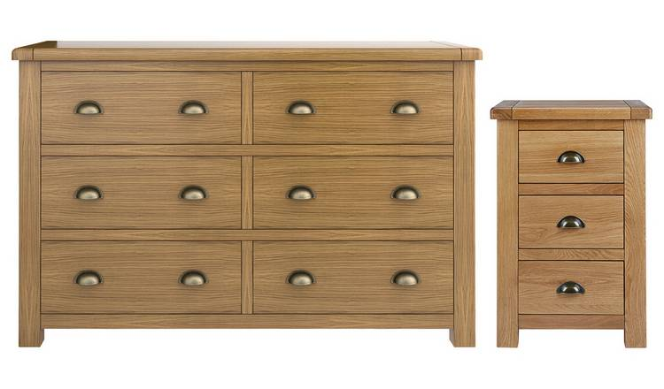 Habitat Kent Bedside & 3+3 Drawer Set - Oak & Oak Veneer