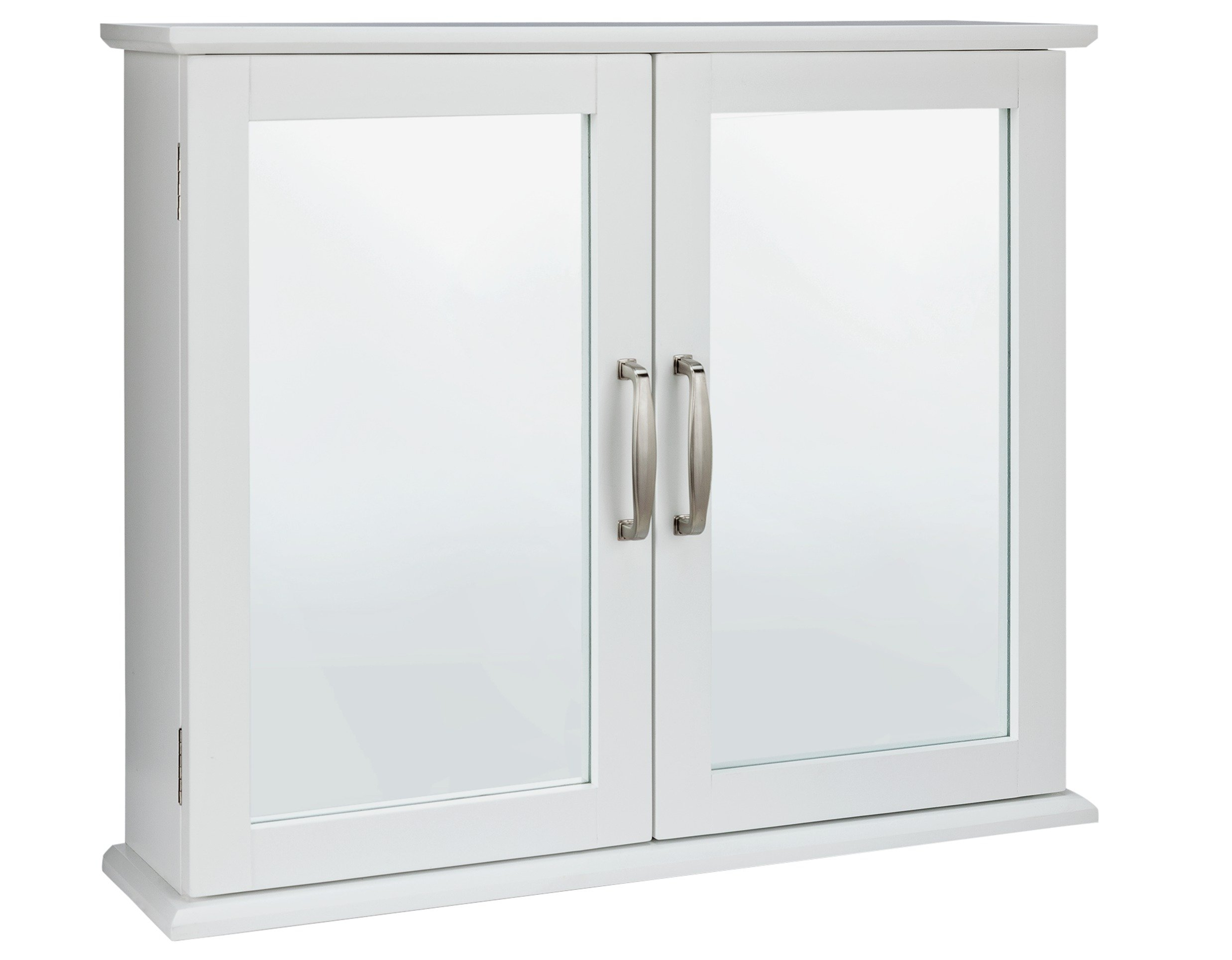 Image of Collection New Tongue and Groove Mirrored Wall Cabinet-White