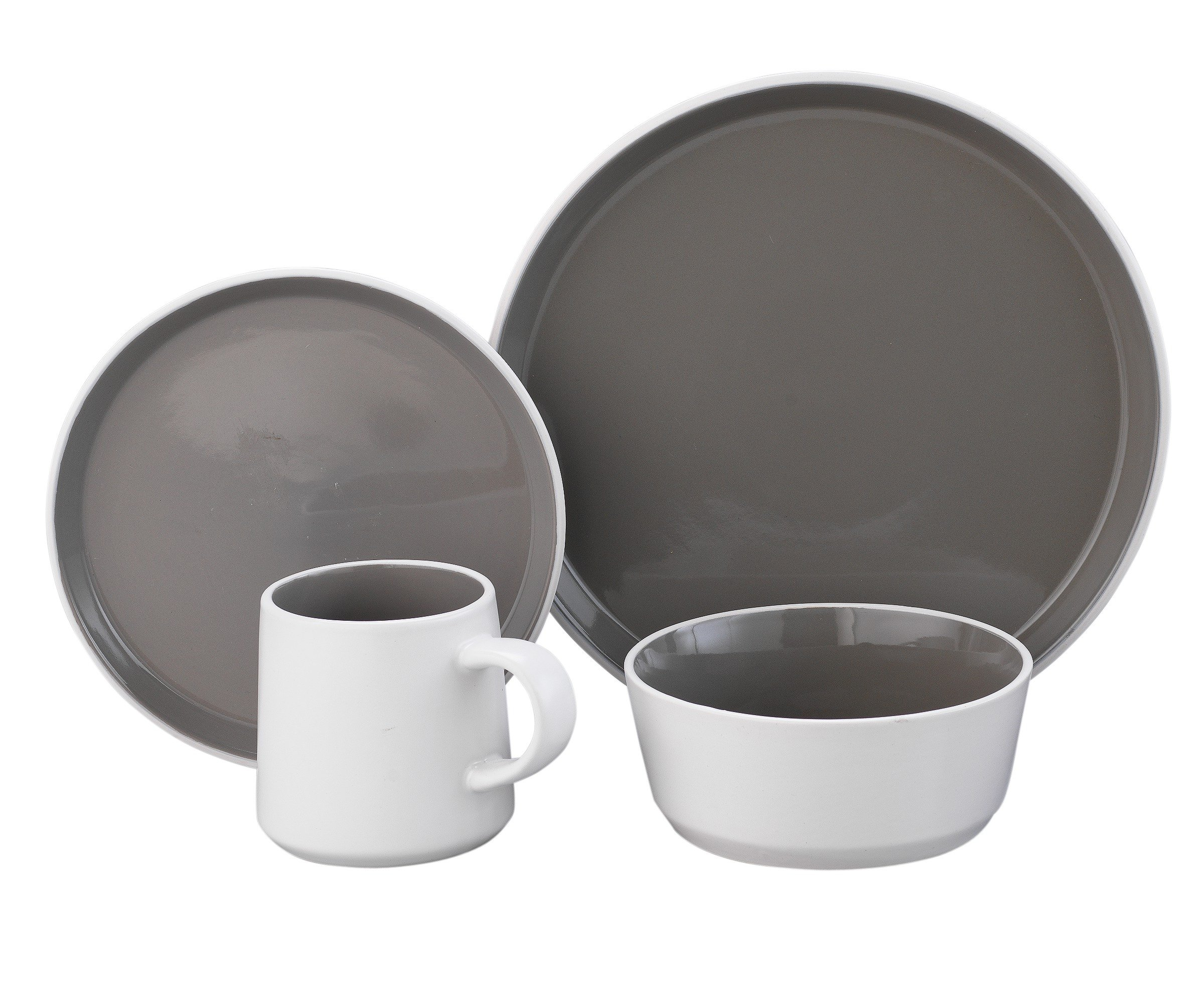 Hygena Taper 16 Piece Stoneware Dinner Set - Grey