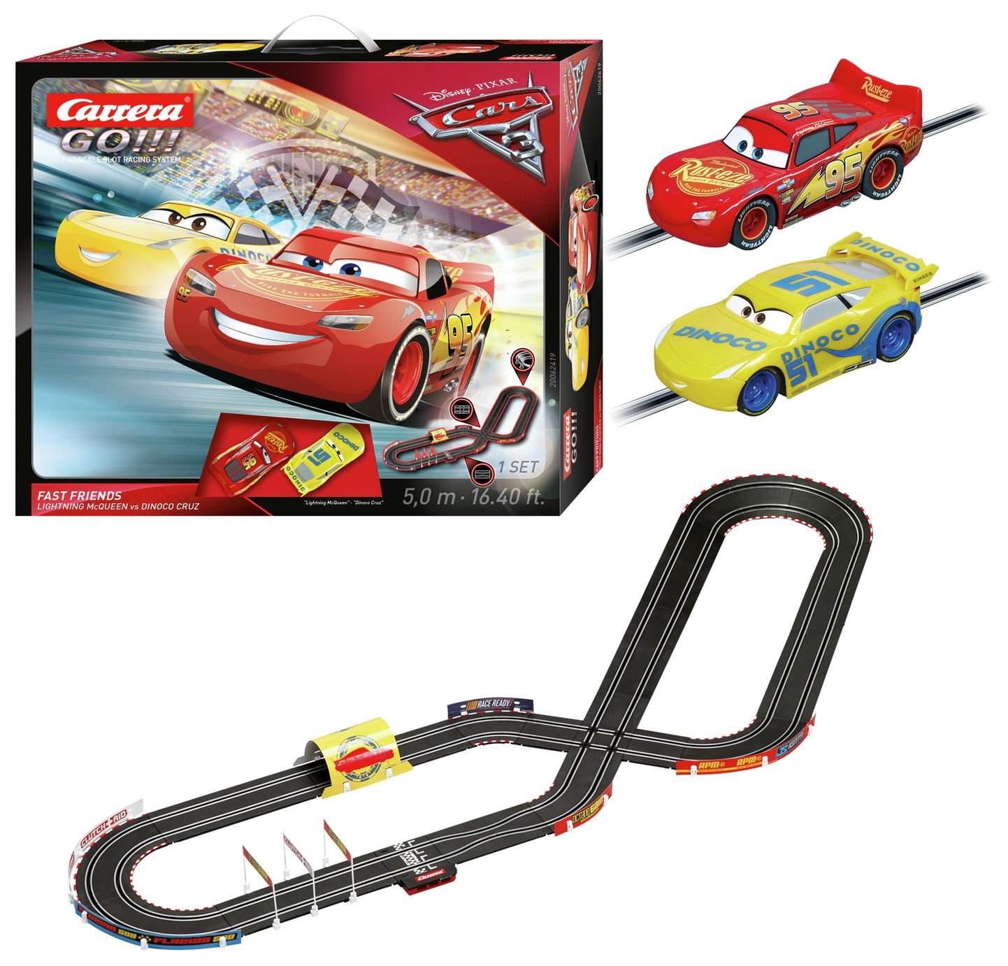 carrera go cars 3 racing circuit set 7028391 argos. Black Bedroom Furniture Sets. Home Design Ideas