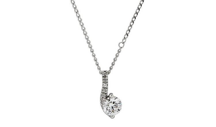 35c1f44feb5b1 Buy Revere 9ct White Gold Curl Pendant 18 Inch Necklace | Limited stock  Jewellery and watches | Argos