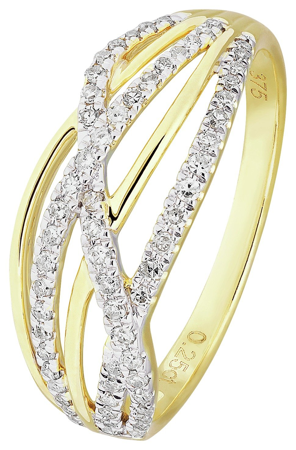 Revere 9ct Yellow Gold 0.25ct tw Diamond Crossover Ring