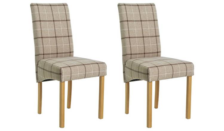Astounding Buy Argos Home Pair Of Fabric Skirted Chairs Mink Check Dining Chairs Argos Ibusinesslaw Wood Chair Design Ideas Ibusinesslaworg