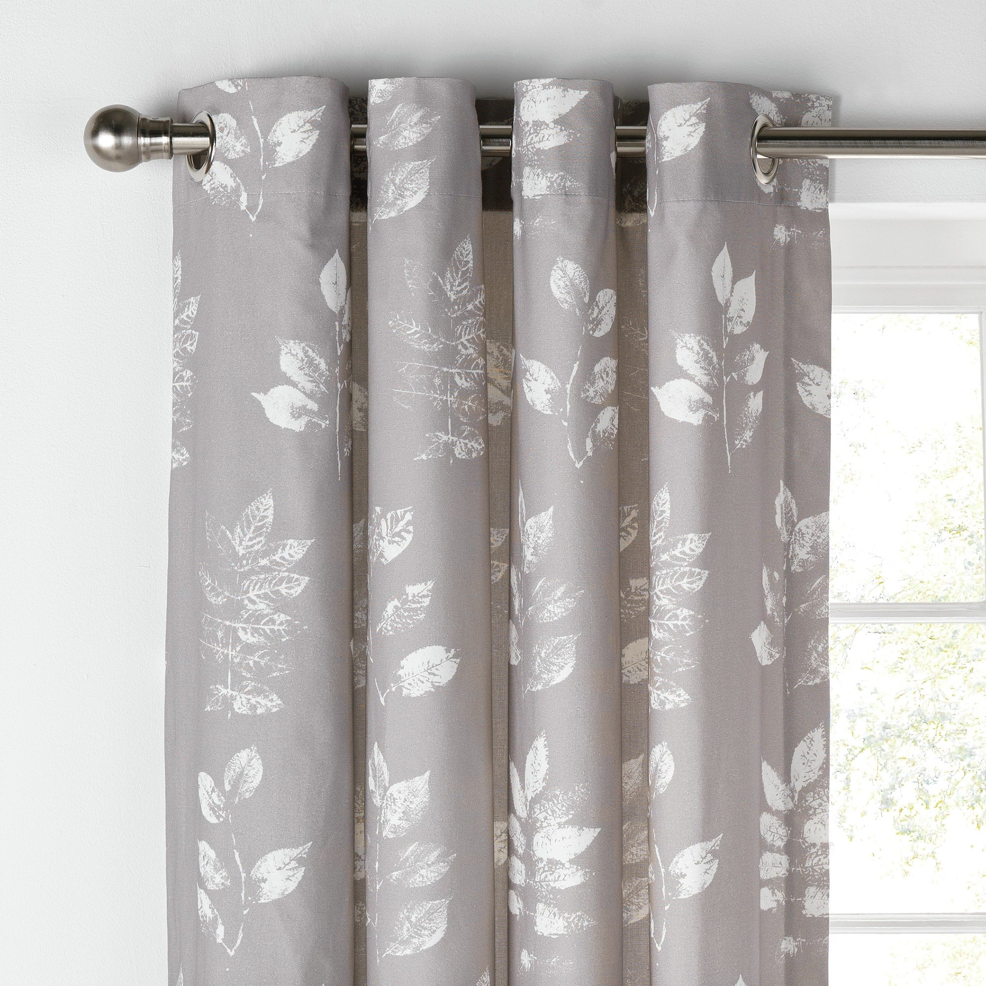 Image of Collection Artisan Leaves Lined Curtains - 229x229cm - Grey