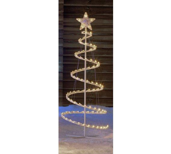 argos home 35ft 100 led spiral tree white - Spiral Christmas Tree Led