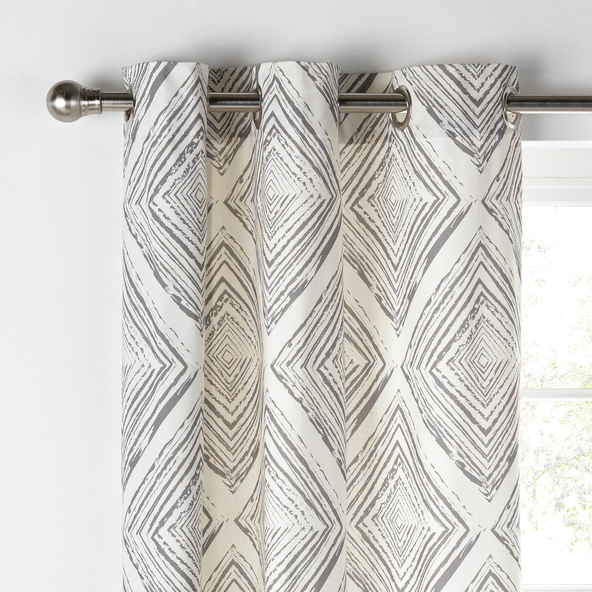 Collection Diamond Distressed Lined Curtains -168x183- Grey.